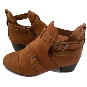 Ashley Stewart brown tan suede ankle boots buckle